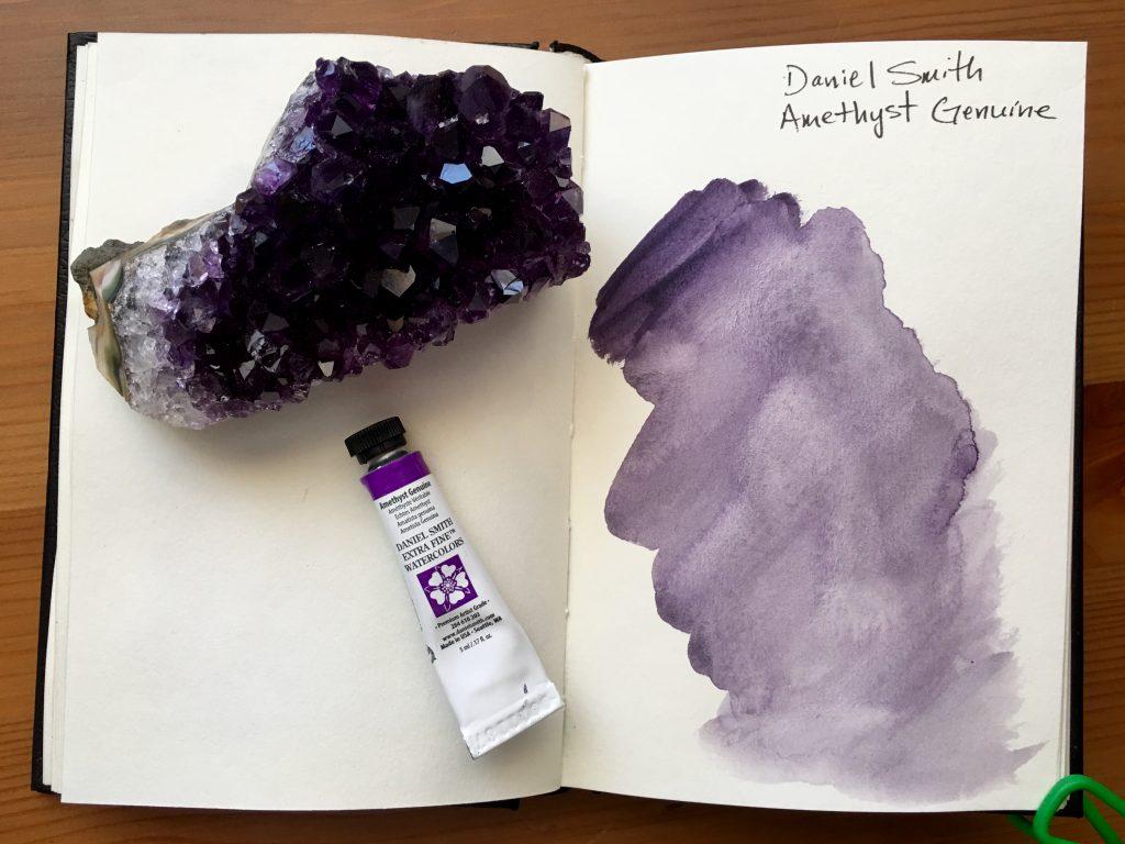 Daniel Smith PrimaTek watercolors swatches in a stillmand and birn gamma series journal Amethyst Genuine