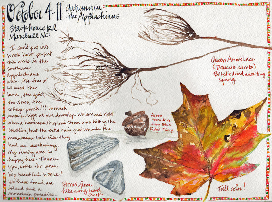 Doodlewash and watercolor sketch by Tonya at Scratchmade Journal of Autumn in the Appalachians