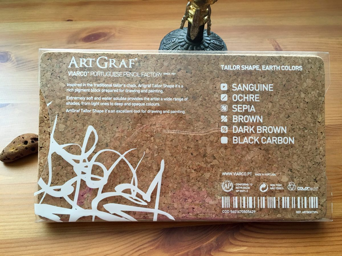 ArtGraf Tailor Chalks, which comes in six different colors- Sanguine, Ochre, Sepia, Brown, Dark Brown and Carbon Black. back of packaging