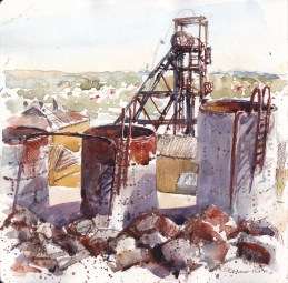 Doodlewash and watercolor urban sketch by Chris Haldane of Broken Hill Mines