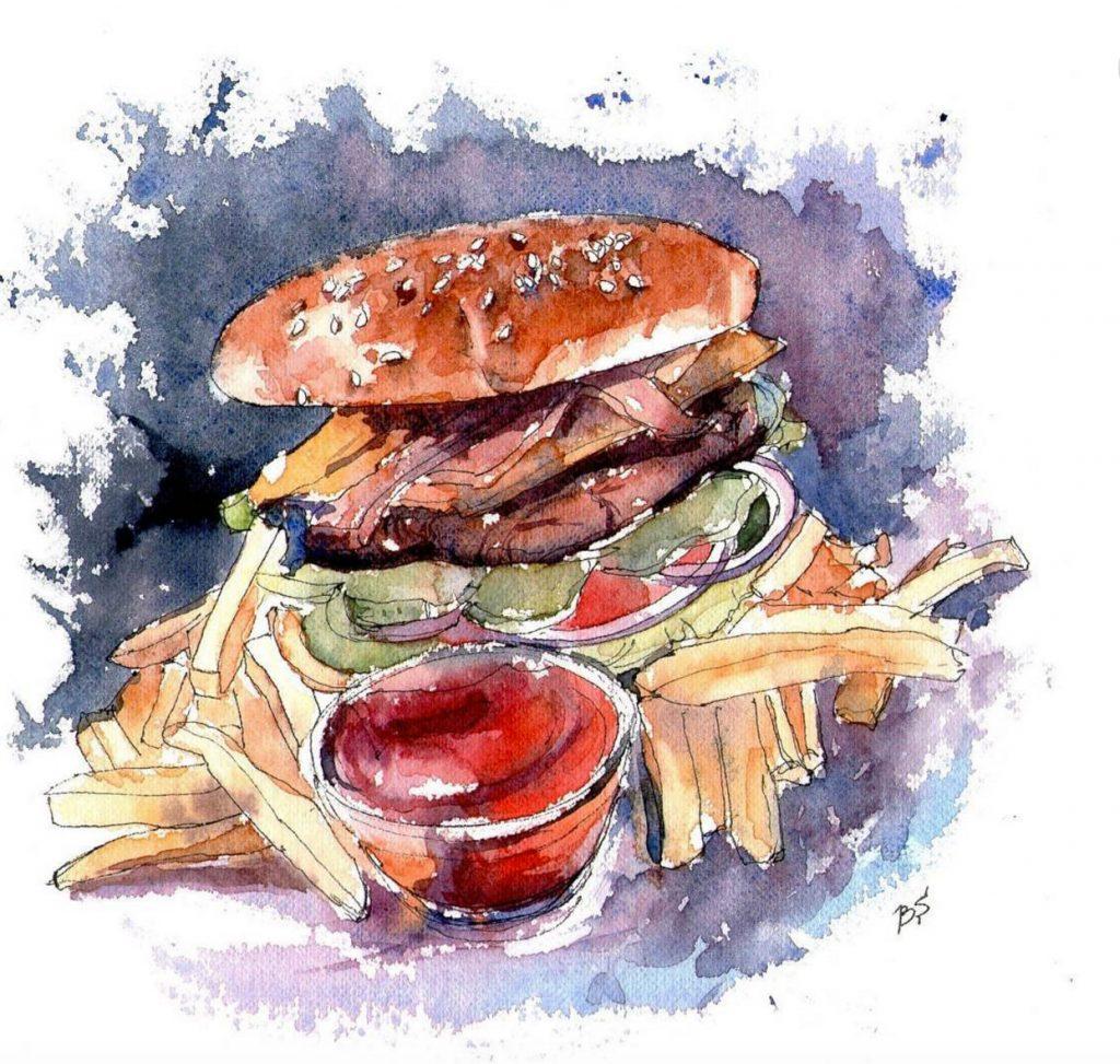 Bogdan Shiptenko Doodlewash of hamburger and fries