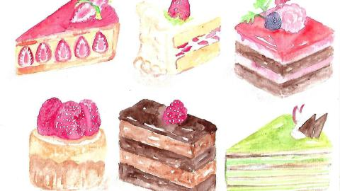 Doodlewash by Maria Christina Dina - watercolor of various desserts