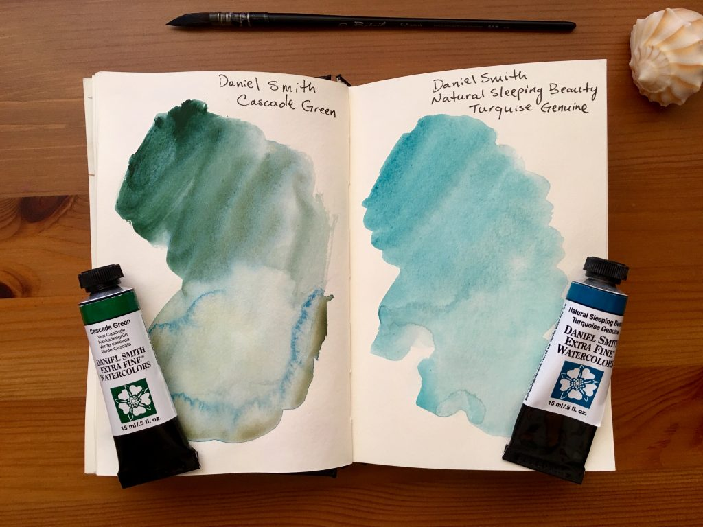 Daniel Smith PrimaTek watercolors swatches in a stillmand and birn gamma series journal Natural Sleeping Beauty Turquoise Genuine and Cascade Green