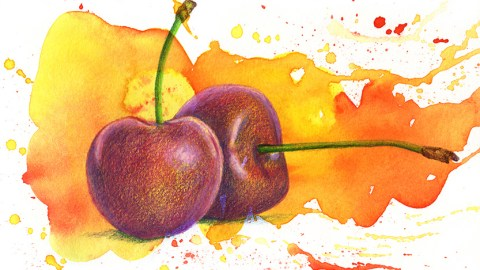 Doodlewash and watercolor sketch by Koosje Koene Sketchbook Skool of cherries