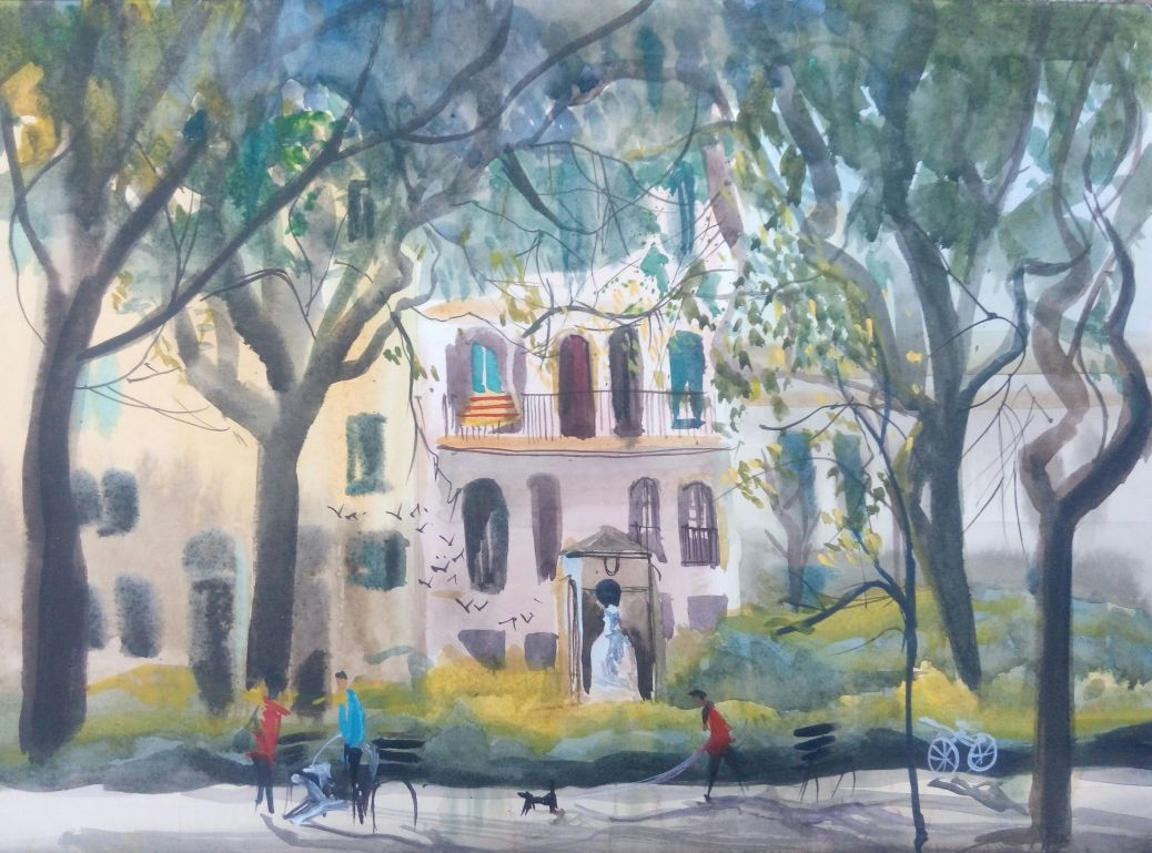 Doodlewash and watercolor painting of house and city street by Anna Fedorovich
