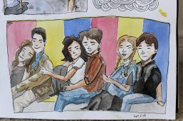 Doodlewash by Sam Orpiada watercolor sketch of couples sitting together