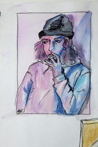 Doodlewash by Sam Orpiada watercolor sketch of man smoking a cigarette