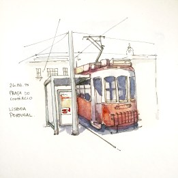 Doodlewash and watercolor urban sketch of streetcar trolley in Lisbon, Portugal by César Rodríguez