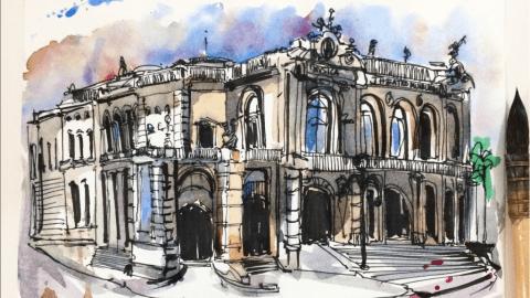 Doodlewash and watercolor urban sketch of Teatro Municipal by César Rodríguez