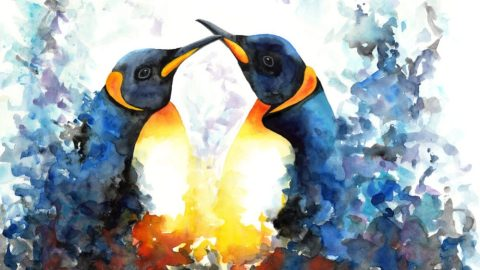 Doodlewash of two penguins in watercolor by Mette Laustsen