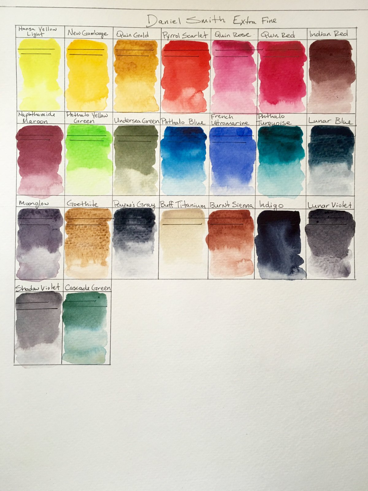 Daniel Smith Extra Fine watercolor paint swatches on Strathmore watercolor paper