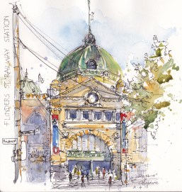 Doodlewash and watercolor urban sketch by Chris Haldane of Finder's St. Station in Melbourne Australia