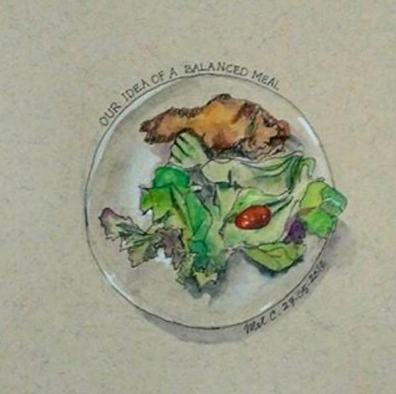 Doodlewash and watercolor sketch of dinner plate by Melissa Candrasaputra