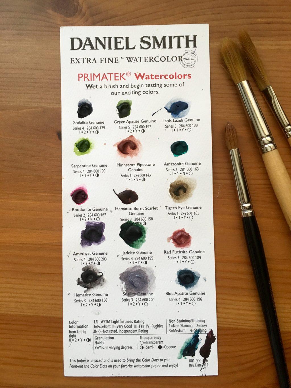 Daniel Smith PrimaTek watercolors dot card