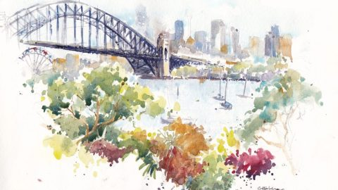 Doodlewash and watercolor urban sketch by Chris Haldane of Sydney Harbor bridge in Australia