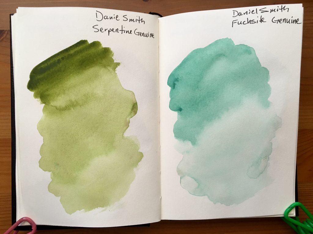 Daniel Smith PrimaTek watercolors swatches in a stillmand and birn gamma series journal Serpentine Genuine and Fuchsite Genuine