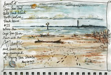 Doodlewash and watercolor sketch by Tonya at Scratchmade Journal of sunset at bald head island