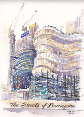 Doodlewash and watercolor urban sketch by Chris Haldane of The Streets of Barangaroo Tower from beside future casino site