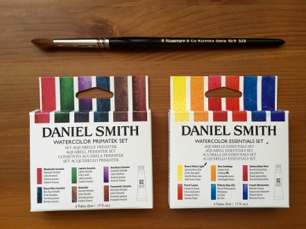 Daniel Smith Extra Fine and Primatek watercolor Essential Sets with w Rosemary & Co Kolinsky sable series 323