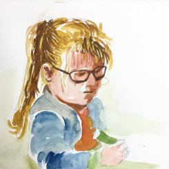 Doodlewash and watercolor sketch by Benny Kharismana of little girl with blonde hair urban sketch