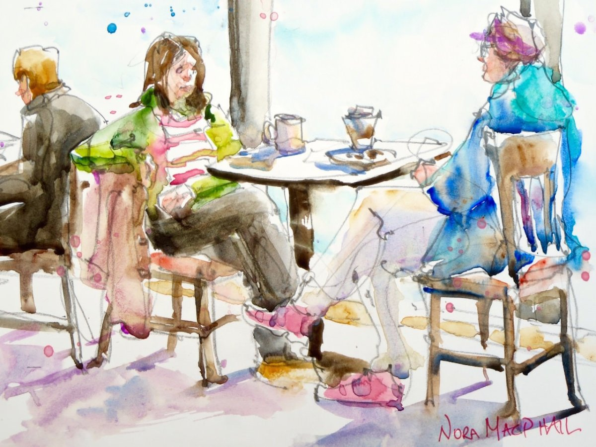 Doodlewash and watercolor painting by Nora MacPhail of people having drinks