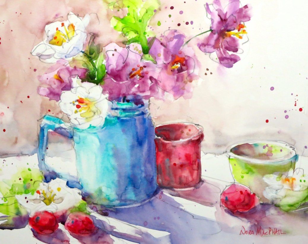 Doodlewash and watercolor painting by Nora MacPhail of flowers in pitcher on table