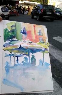 Doodlewash and watercolor urban sketch by Celia Blanco of people outside under umbrellas