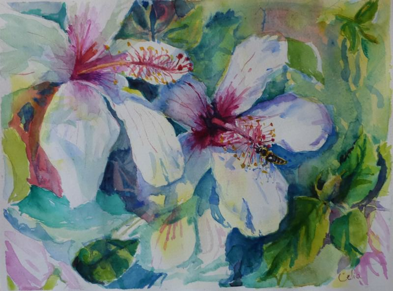 Doodlewash and watercolor sketch by Celia Blanco of pink and white flowers