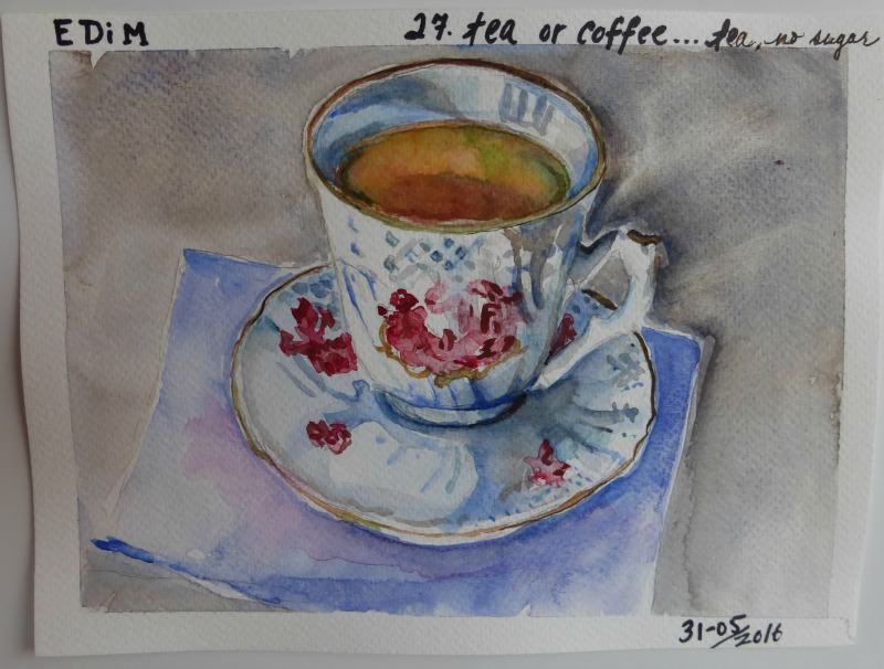 Doodlewash and watercolor sketch by Celia Blanco of teacup