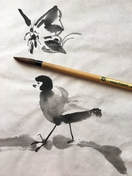 Chinese brush painting on practice shuen, bird, butterfly