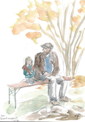 Doodlewash and watercolor painting by Olga Reiff at the urban garden in Esch: Storyteller and his daughter
