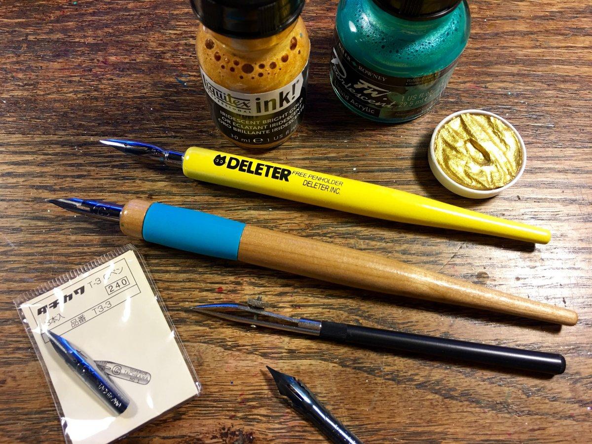 Deleter dip pen, Tachikawa dip pen and calligraphy nibs, ruling pen