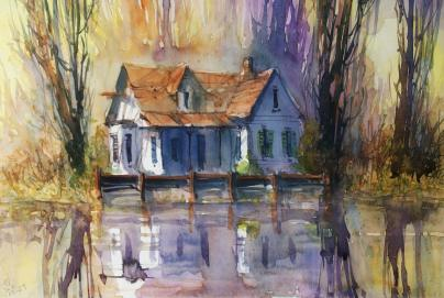 Doodlewash Watercolor Painting by Carsten Wieland - Louisiana Bayou Shack