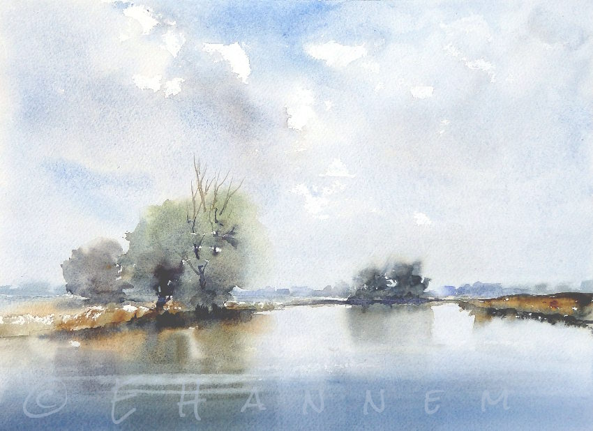 Doodlewash and watercolor painting by Edo Hannema of De Biesbosch Noordwaard