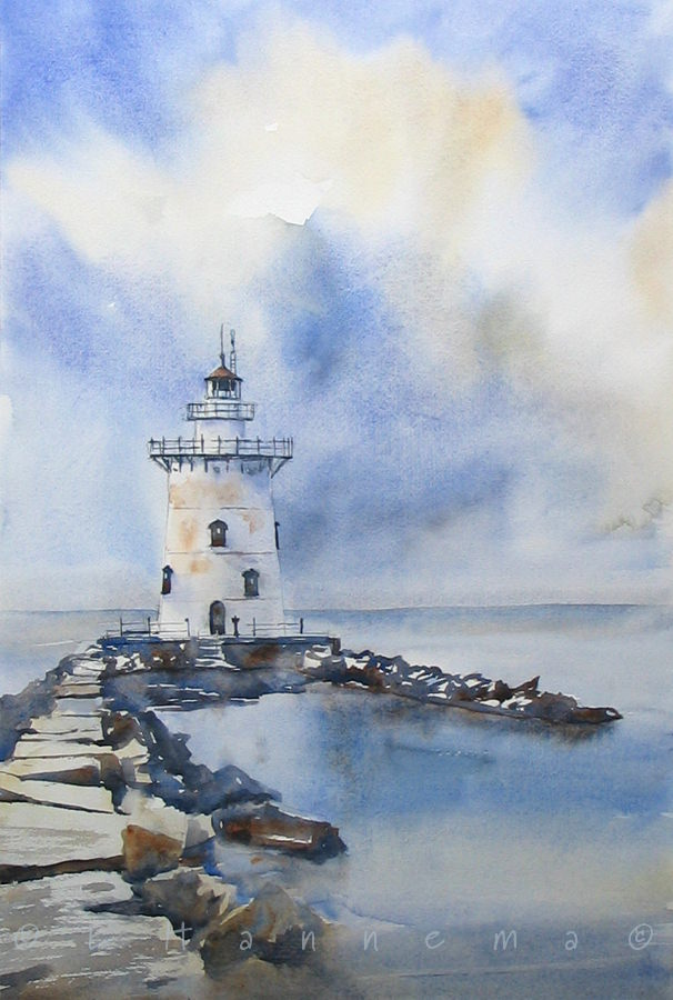 Doodlewash and watercolor painting by Edo Hannema of lighthouse with path of stones