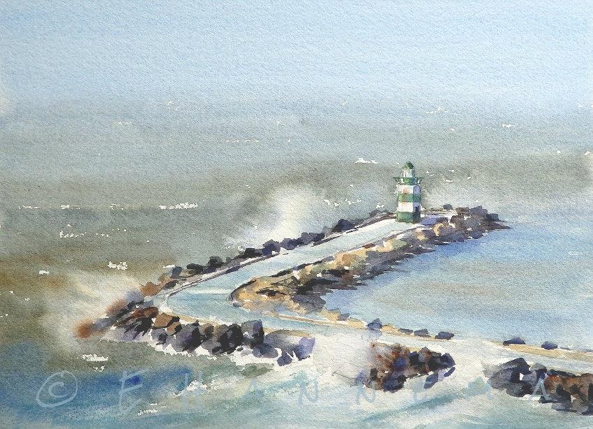 Doodlewash and watercolor painting by Edo Hannema of zuidelijk havenhoofd
