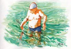 Doodlewash and watercolor painting by Judy Salleh of older man in pool