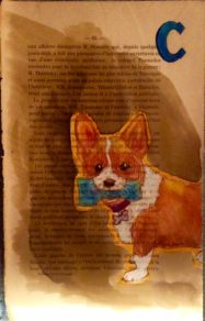 Doodlewash and watercolor sketch by M. L. Kappa of Corgi