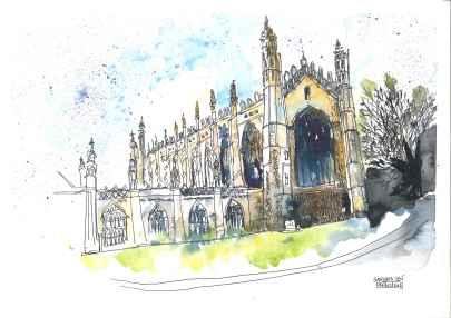 Doodlewash and Urban Sketch by Sanjukta Sen of church