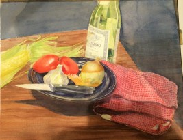 Doodlewash by Urban Sketcher Suzala of still life of plate with food and knife