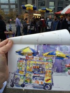 Doodlewash by Urban Sketcher Suzala of street food cart and vendor