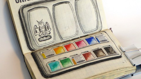 Doodlewash and watercolor sketch by Kathrin Jebsen-Marwedel of watercolor palette in Moleskine planner
