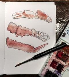 Doodlewash and watercolor sketch by E. O. Brown of crab claws