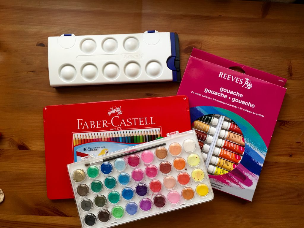 Pelikan watercolours, faber-castel watercolor pencils, reeves gouache, artist loft watercolors