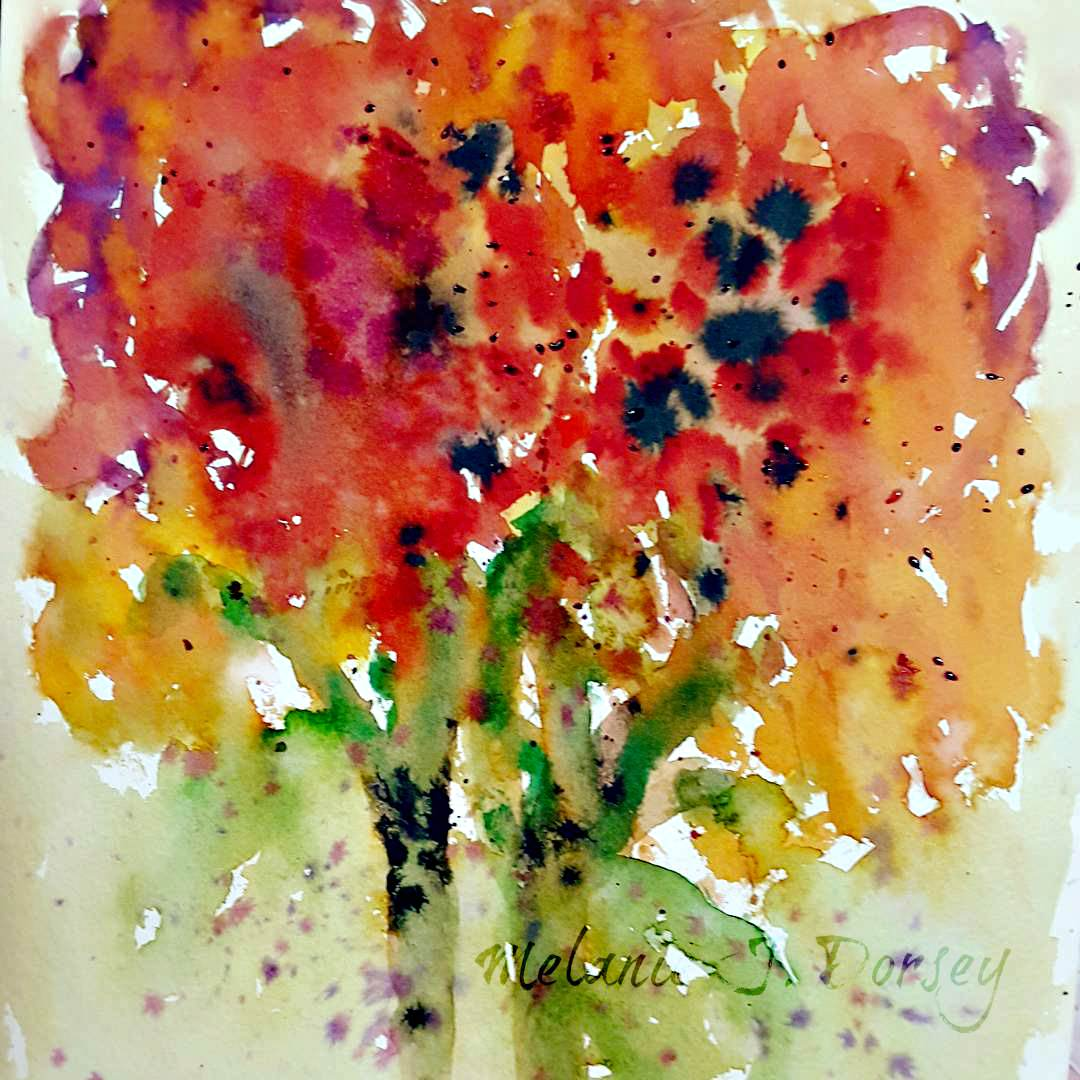 Doodlewash and watercolor sketch by Melanie J. Dorsey of abstract floral