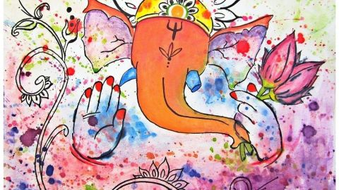 Doodlewash and painting by Sarang Khanna of Lord Ganesha
