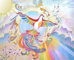 Doodlewash and painting by Sarang Khanna of phoenix