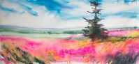 Doodlewash and watercolor sketch by Angela Fehr of pink orange fields and sky