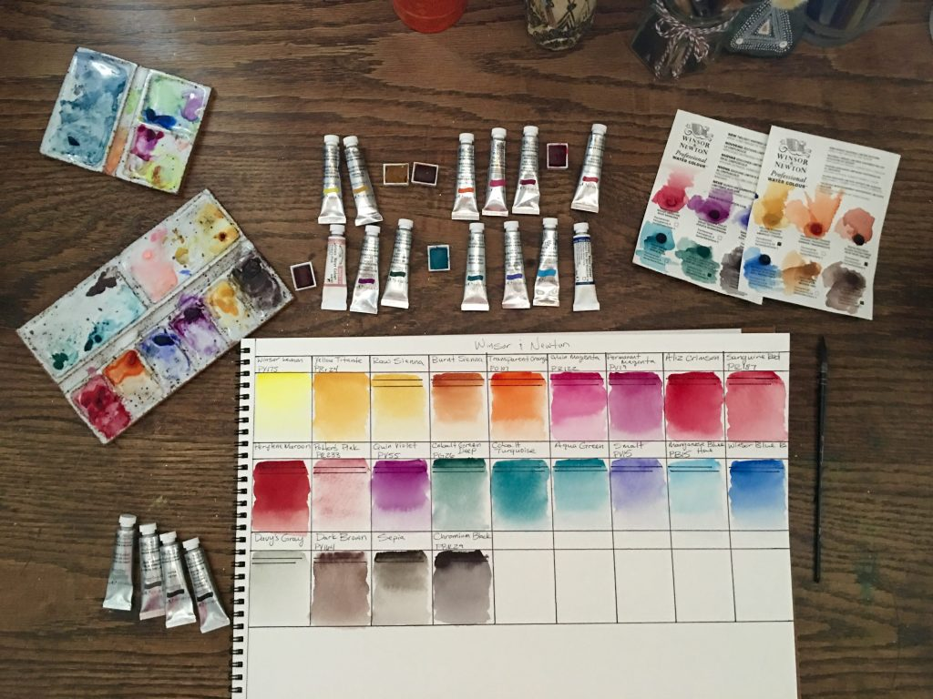 Winsor & Newton watercolor paint swatches, dot cards of limited edition sets, watercolour palettes, paint tubes and half pans