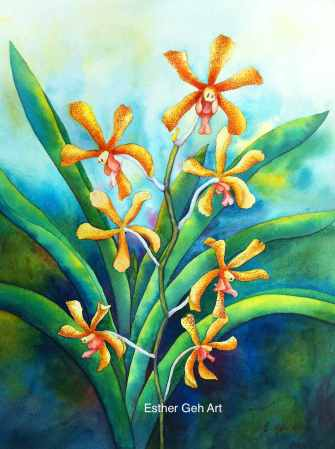Doodlewash and watercolor painting by Esther Geh of Aranda flowers